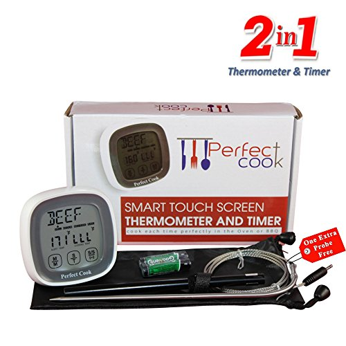 Perfect Cook- Best Digital Oven Meat Thermometer & Cooking Timer, with Best Stainless Steel Probe to Leave in Oven, BBQ Cooking, Grilling, Turkey or Smoker And Easy to Use Count down/Up Kitchen Timer (Digital Iphone Meat Thermometer compare prices)