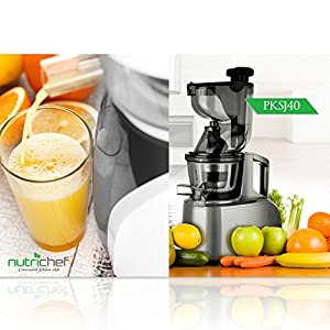 Upgraded NutriChef Masticating Juicer, Countertop Cold Press Juicer, Quiet Motor, with Juice Container and Cleaning Brush, Healthy Snack Fruit Vegetable Juice, Baby Food, Stain Resistant (PKSJ40)