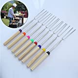 MoRange Set of 8 Marshmallow Roasting Sticks, Telescoping Rotating Smores Skewers & Hot Dog Fork 32 Inch Kids Camping Picnic Campfire Fire Pit Accessories