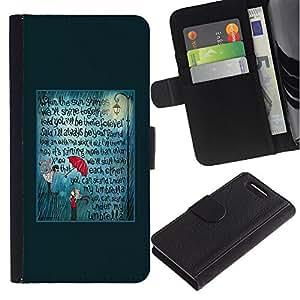 iKiki Tech / Cartera Funda Carcasa - Teal Umbrella Love Text Quote - Sony Xperia Z1 Compact D5503