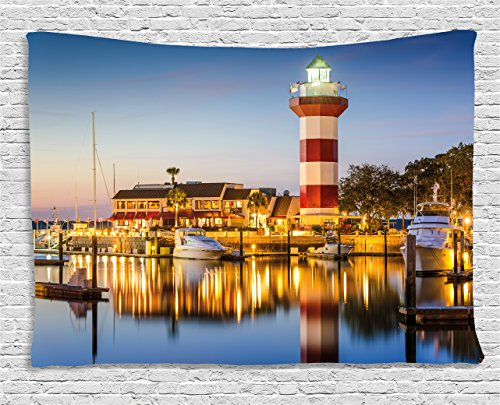 Ambesonne United States Tapestry, Hilton Head South Carolina Lighthouse Twilight Water Reflection Boats Idyllic, Wall Hanging for Bedroom Living Room Dorm, 80 W X 60 L Inches, Multicolor