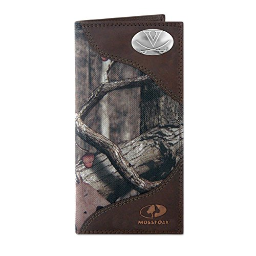 NCAA Virginia Cavaliers Zep-Pro Mossy Oak Nylon and Leather Secretary-Style Roper Concho Wallet, Camouflage, One Size