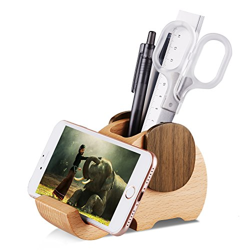 AhfuLife Wooden Elephant Phone Stand with Pen&Pencil Cup Holder/Pot for iPhone Samsung Sony Huawei, Desk Decoration Multi-Functional Stationery Organizer, Best Gift for Valentine's Day, Mother's Day by AhfuLife