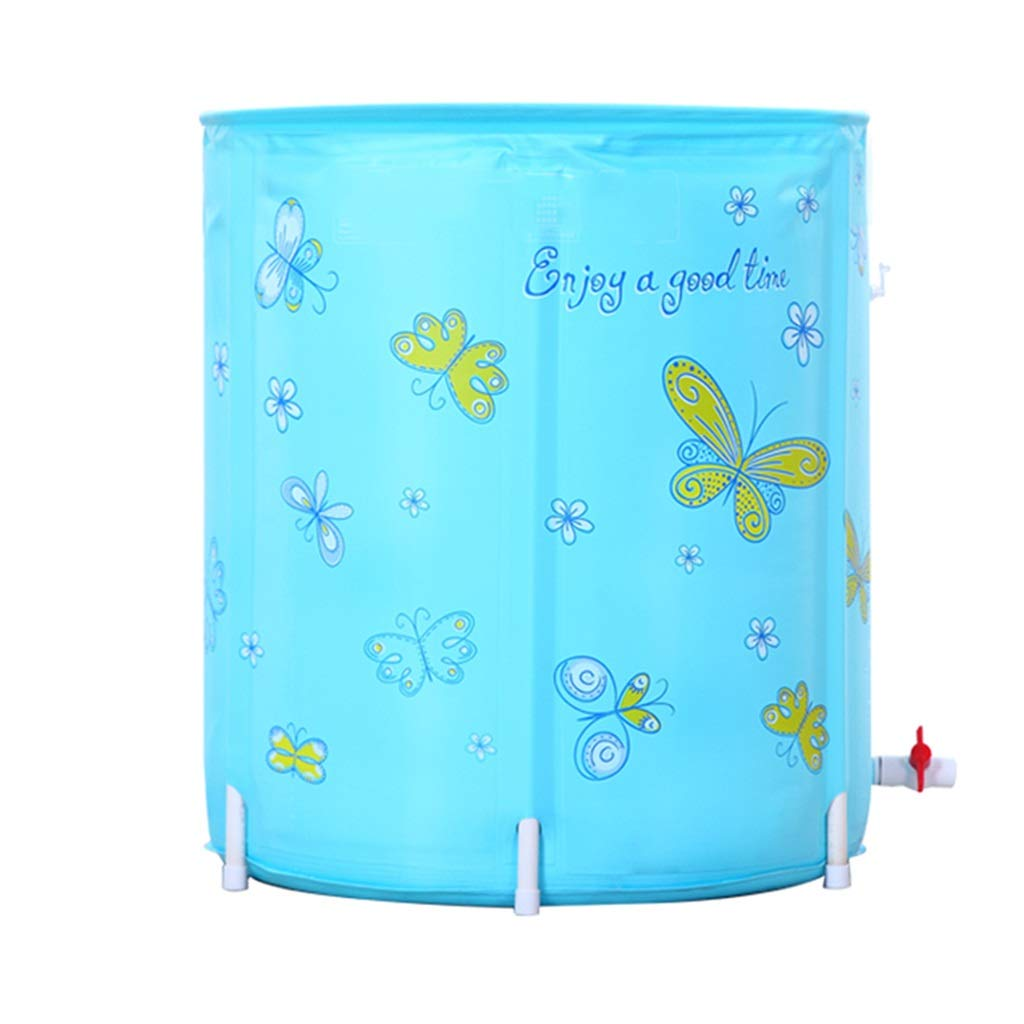 Folding bathtub Large Plastic Free Inflatable Adult Bathtub Full Body Bath Barrel Children's Pool Ladies with Lid Fumigation Bucket Gift (Color : Blue, Size : 7070cm)