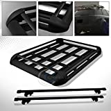 HS Power 49'' BLK SQUARE TYPE ROOF RAIL RACK CROSS BAR KIT+CARGO CARRIER LUGGAGE BASKET C1