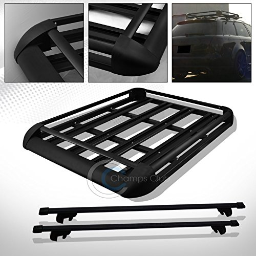R/&L Racing 49 BLK SQUARE TYPE ROOF RAIL RACK CROSS BAR KIT+CARGO CARRIER LUGGAGE BASKET C1