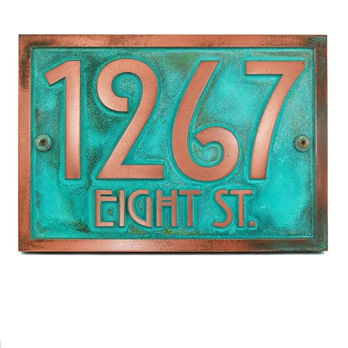 Stickley Address Plaque 12.5x8.75 - Raised Copper Verdi Coated by Atlas Signs and Plaques