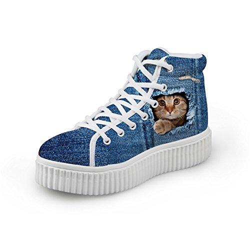 Bigcardesigns Kawaii Katt Tillfälliga Platta Sneakers Blå Stil Cat4
