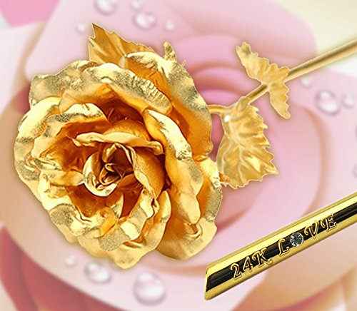 [DeFaith] Diamond-stud 24k Gold Rose Foil Flowers - Rose-blooming (10 Inches)