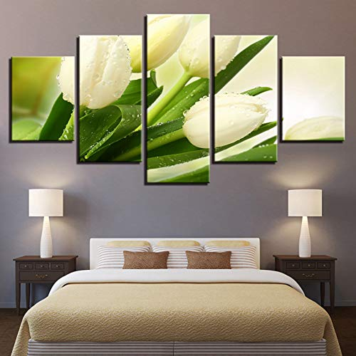 (SHUII Canvas Paintings Modular Home Decor Framework HD Prints Pictures 5 Pieces White Tulips Flowers Posters for Living Room Wall Art Framed 20x35cm 20x45cm 20x55cm)
