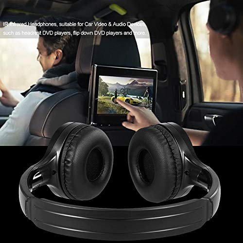 HJINGUS IR Infrared Wireless Car Headphones Stereo Headset Wired Earphone Dual Channel for in-car DVD Player The Latest in 2019 (Color : Black) Dual Channel Infrared Stereo Headphones
