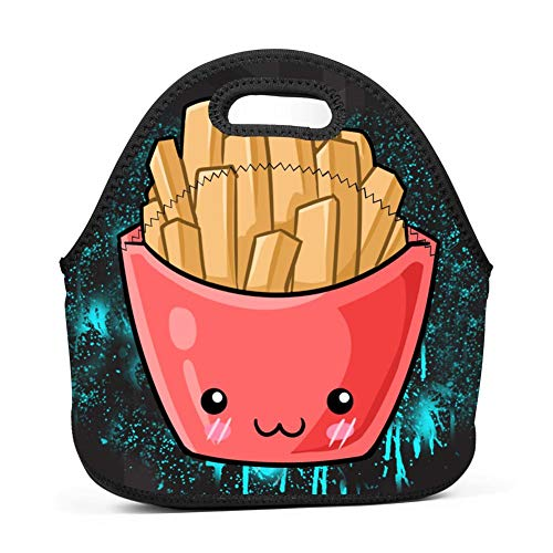 Kawaii Fries Lunch Bag Reusable Bento Tote Bag Lunch Box with Zipper for Children -