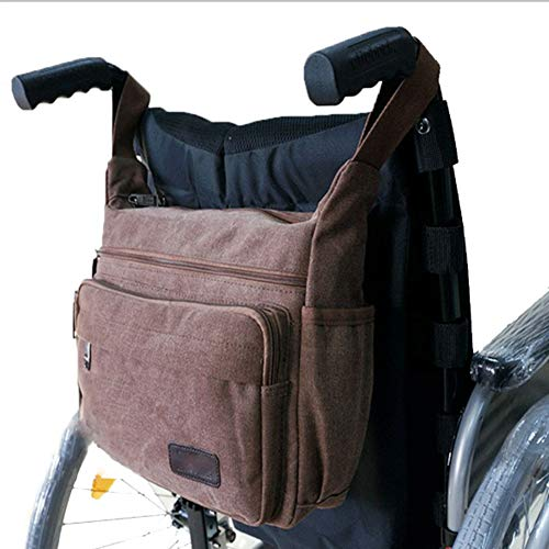 JOEPET Wheelchair Bag Wheelchair Canvas Bag Side Pouch Basket Storage Organizer Tote Pockets Mobility Devices Fits Most Walkers,Manual or Electric Wheelchairs - Manual Tote Wheelchair Carrier