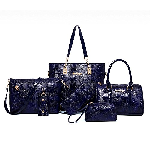 Women Handbag,Women Bag,KINGH Crocodile pattern PU Leather Tote Clutch Purse 6 PCS Set Bag 272 Blue
