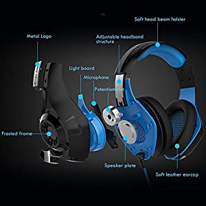 Gaming Headset PS4 Headphones with LED Light, Wired Over Ear Stereo Bass PC Game Headset with Microphone, In-line Control, Volume Control for PC Computer Tablet Laptop (Red)