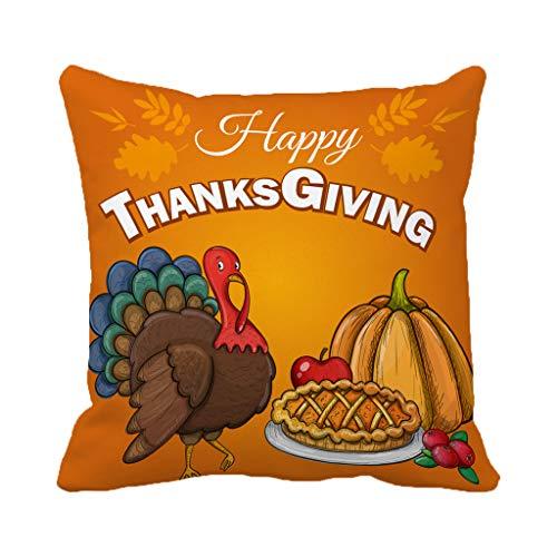 Batmerry Autumn Thanksgiving Theme Decorative Pillow Covers 18 x 18 inch,Thanksgiving Greeting Food Autumn Cake Classic Colorful Cute Throw Pillows Covers Sofa Cushion Cover Pillowcase for $<!--$8.87-->