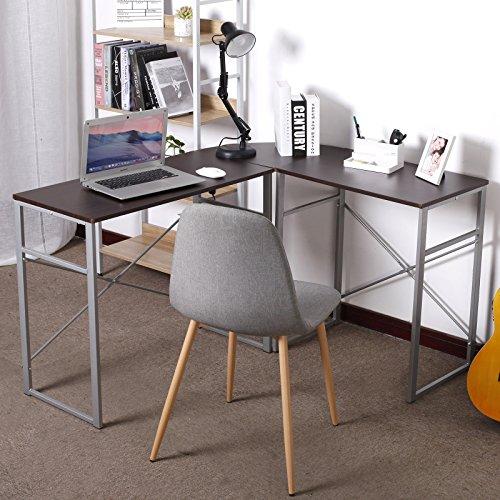 WOLTU L-Shaped Corner Computer Office Desk Modern PC laptop Workstation Table Home Office Desk Wood&Metal Black (Dark Wood)