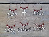Gift Set of 6 Wine Glass Charms With 20mm Loops, Cross Faith Peace Love Believe Hope