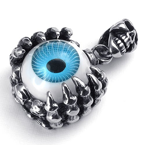 (TEMEGO Jewelry Mens Stainless Steel Vintage Pendant Gothic Skull Dragon Claw Demon Eye Necklace, Black Blue Silver)
