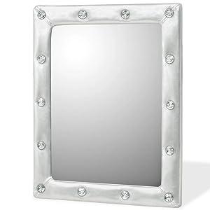 Xingshuoonline Miroir Maquillage Miroir Mural en Cuir Artificiel Argent Brillant 40x 50cm d'Casa Miroir Mural avec Accessoires de Montage