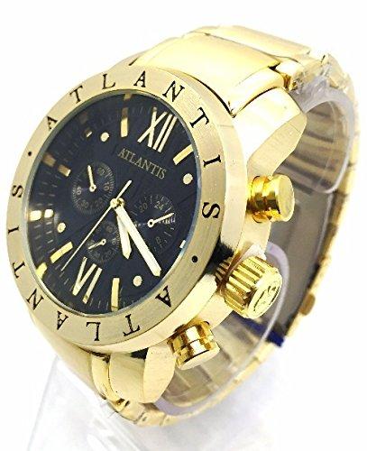 700bdc2de38 Relogio Atlantis Dourado Fundo Preto Original C3 Frete Grátis ...