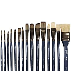 Mont Marte Premium Paint Brush Set 15 Piece, Includes 15 Different Brushes in a Roll Case with Magnetic Closure…