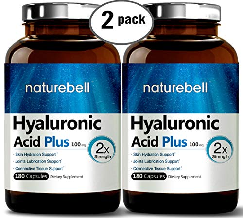 Maximum Strength Hyaluronic Acid Capsules,100mg,180 Counts, Powerfully Supports Antioxidant, Skin Hydration & Joints Lubrication. Non-GMO and Made in USA. (2 Pack) ()