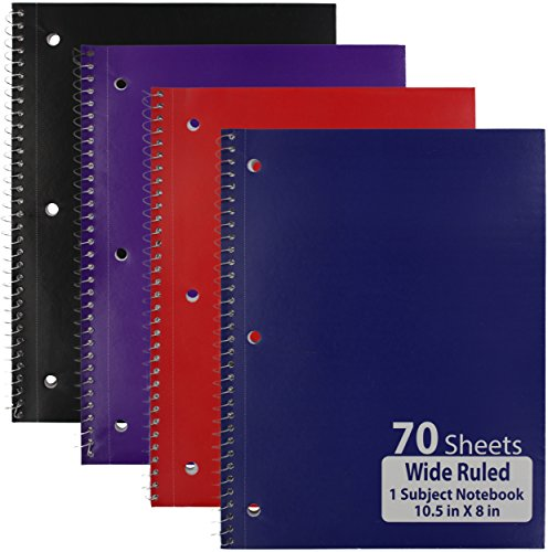 Emraw Single Subject Notebook Spiral with 70 Sheets of Wide Ruled White Paper - Set Includes: Red, Black, Purple, & Blue Covers (Random 3 (Moments Single Hole)