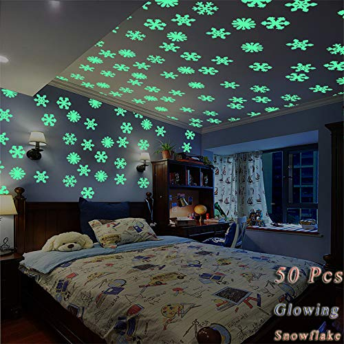 3D Glow in The Dark Snowflake Decal Wall Stickers - Artistic Home Glowing Snowflake Wall Decor - 50 Pcs Glow Snowflake for Kids Bedroom Wall Ceiling Decor Stickers(Mixing Color)]()