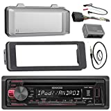 Kenwood KDC168U Stereo CD Receiver Radio - Bundle with Installation Dash Kit + Handle Bar Control Module + Weathershield Cover + Enrock Wire Antenna for 1998 2013 Harley Touring Motorcycle Bikes