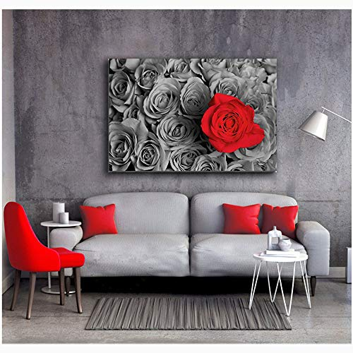 Orlco art Black and White Pictures with Colour red Rose HD Prints Posters Home Decor Wall Art Pictures Red Tree Art Scenery Landscape Flower Paintings Framework (Red, 24x36inch with The -