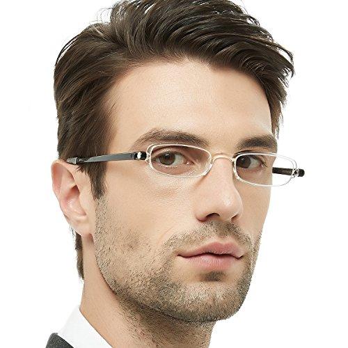 (OCCI CHIARI Men Women Lightweight 180° Foldable Full-Rim TR90 Oval Reading Glasses DANZA(Transparency, 2.5))