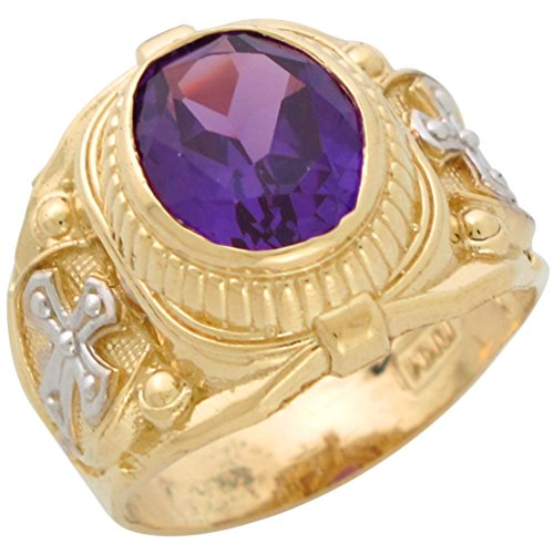 14k Two-Tone Gold Mens Simulated Alexandrite June Birthstone Religious (Simulated Alexandrite Ring)