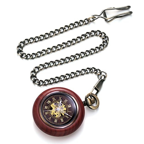 TREEWETO Vintage Wood Automatic Mechanical Pocket Watch for Men Women Steampunk Skeleton Dial with Chain + Gift Box by TREEWETO (Image #3)