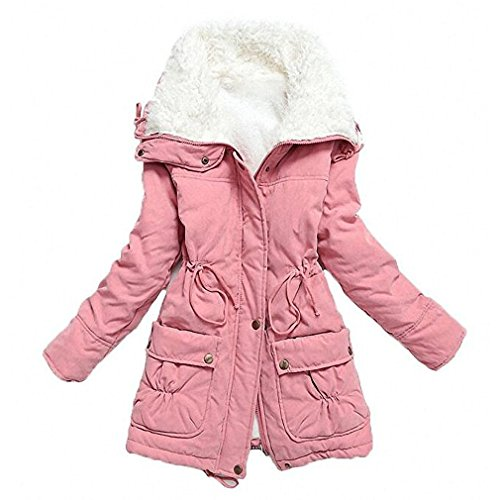 (mewow Women's Winter Mid Length Thick Warm Faux Lamb Wool Lined Jacket Coat (XXL, Pink) )