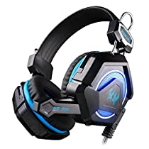 Each GS210 Stereo Gaming Headphones Headset Headband with Microphone & Colorful Breathing LED Light for PC Laptop Notebook computer - Black+Blue
