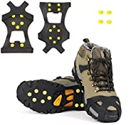SYOURSELF Ice Cleats Snow Grips Overshoes Boots, Anti-Slip Silicone Portable Walk Traction Cleats Stainless Steel Spikes for