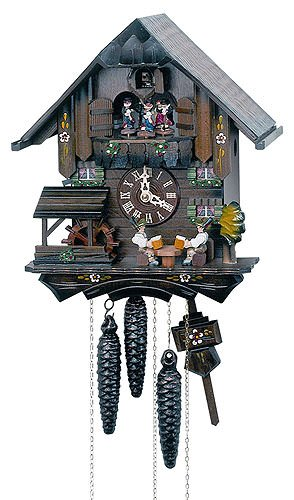 Novelty Cuckoo Clocks - 1-Day 10.6 in. Chalet Black Forest House Cuckoo Clock