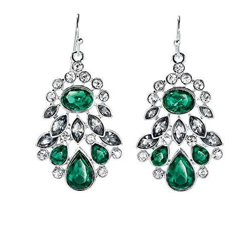 Avon Dangling Earrings - Avon Shine Like a Crystal Green Pierced Earrings