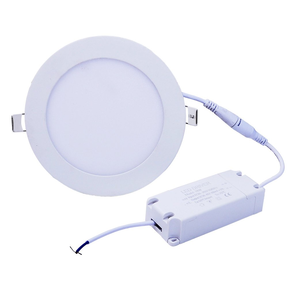 EEG Lighting 18W Flat LED Panel Light Lamp, Dimmable Round Ultrathin LED Recessed Downlight, 1440lm, Warm White 3000K, Cut Hole 8.1 Inch, Panel Ceiling Lighting with 110V LED Driver