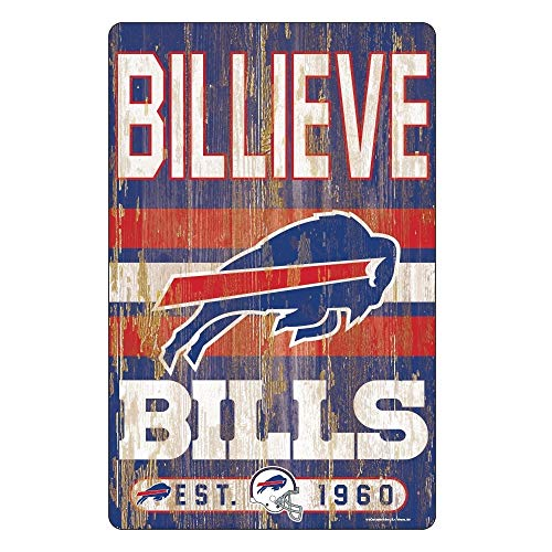 (WinCraft NFL Buffalo Bills 11x17 Wood Sign, Team Color, One Size)