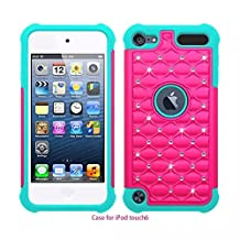 iPod Touch 5 ,iPod Touch 6,Lantier Thin Slim Fit Studded Rhinestone Crystal Bling Hybrid Armor Case Cover for Apple iPod Touch 5 / iPod Touch 6 Hot Pink+Blue