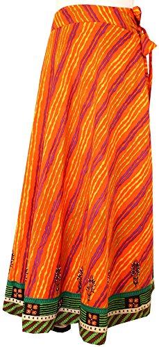 Cotton Wrap Around Long Skirt Womens Indian Clothing (Orange)