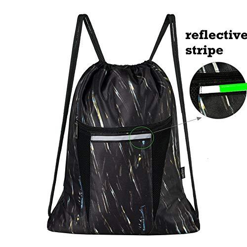 Saigain Sport Gym Sack Large Drawstring Backpack Bag Sackpack with Zipper for Men & Women (Stripe Static)