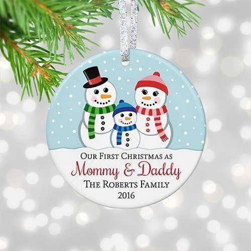 Personalized 1st Christmas as Mommy & Daddy 2018, New Parents First Christmas Ornament, Snowman Family with Boy Girl - 3