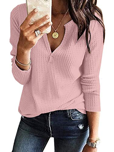 Womens Shirts V Neck Long Sleeve Waffle Knit Loose Fitting Casul Tunic Tops Tee Pink