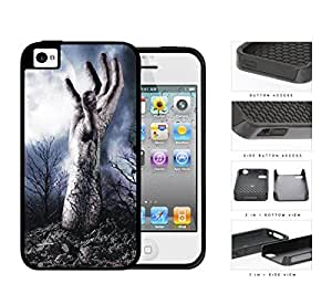 Zombie Hand Above Ground In Forest 2-Piece Dual Layer High Impact Rubber Silicone Cell Phone Case Apple iPhone 4 4s