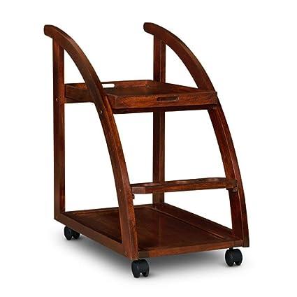B.L Wood Furniture Sheesham Wood Wine Serving Bar Trolley for Home - Rich Brown