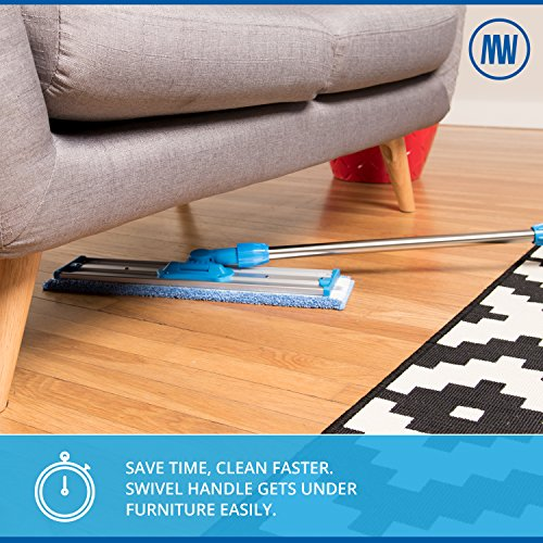 18' Professional Microfiber Mop | Stainless Steel Handle | 3 Premium Mop Pads + 2 FREE Microfiber Cloths