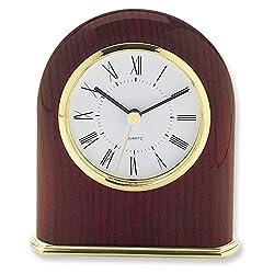 Mahogany Finish Classic Dome Desk Clock